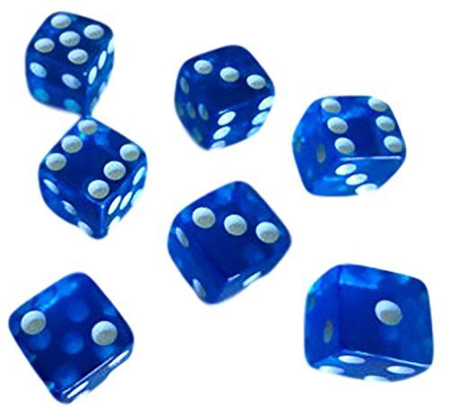 Custom & Unique {Standard Medium 16mm} 12 Ct Dozen Pack Set of 6 Sided [D6] Square Cube Shape See-Through Playing & Game Dice Made of Plastic w/ Classy Board Game Design [Blue & White Colored]