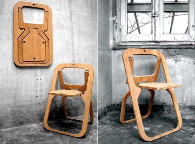Wooden folding chair creative ideas for home interior for Space saving seating