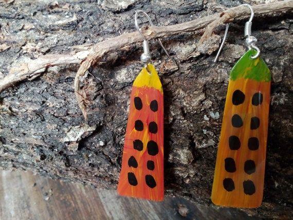 Painted earrings Handpainted earrings with Acrylic by AnKaArts