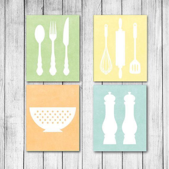 Kitchen Utensils Baking And Cooking Home Decor Customizable Textured  Digital Art Print Set Of Four On