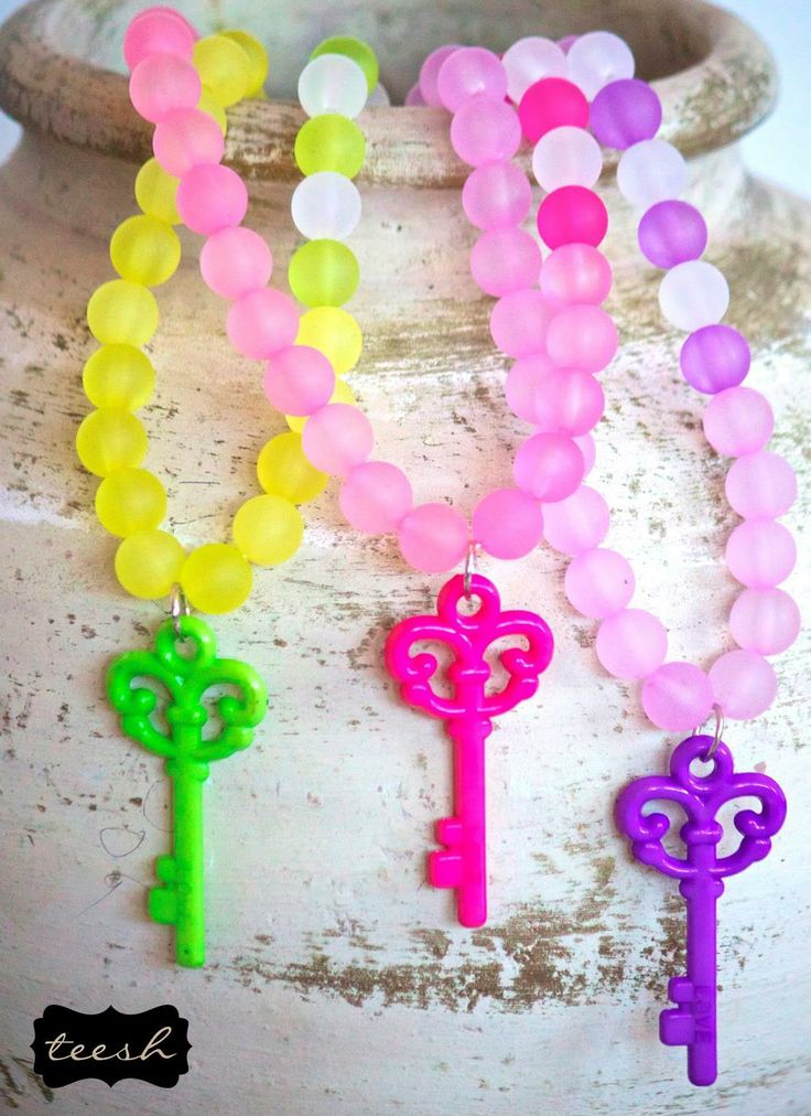 Teesh Colour is the Key Frosted Necklace. Coming soon to Wholesale Baby. #teesh #wholesalebaby #wholesale #accessories #beads #frosted #key