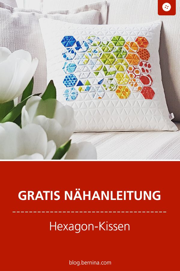 Modernes Hexagon Kissen Technick English Paper Piecing Kissen