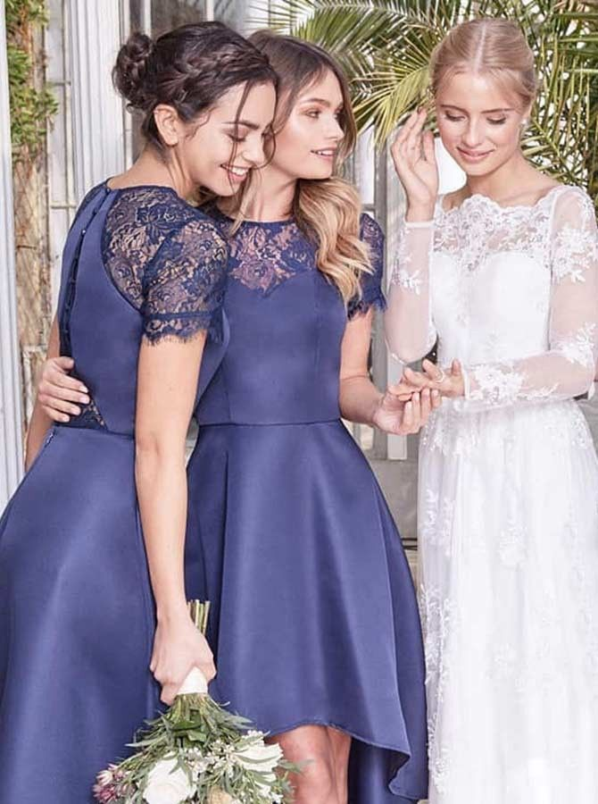 f5a90dcb09 A-Line Jewel Short Sleeve Nave Blue Satin Bridesmaid Dress with Lace   navyblue  blue  lacebridesmaiddress  bridesmaiddresses  wedding   weddingideas