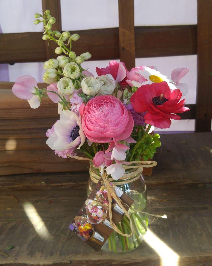 Soft Pinks....Alchemy Farm Mason Jar Posies created with our farm grown specialty flowers and greens. #masonjarposy #masonjarposies #flowerfarmer #farmstand
