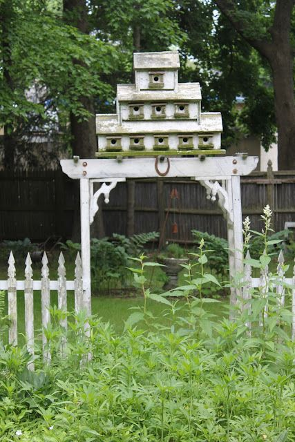 52 FLEA: Paula's Cottage Gardens  Arbor and bird house... brilliant!