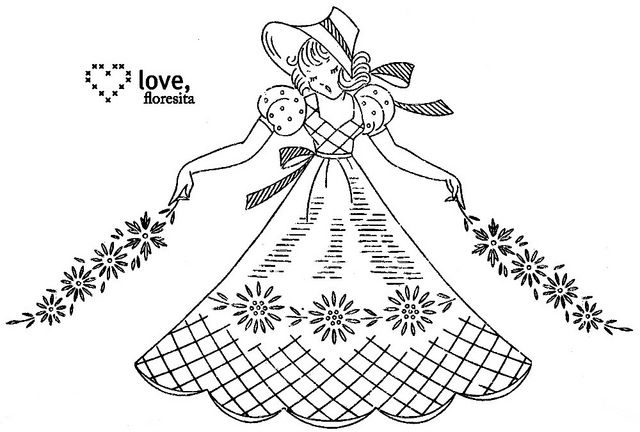 Crinoline lady by floresita's transfers, via Flickr: Embroidery Transfer, Embroidery Patterns, Embroidery, Hands Embroidery, Embroidery Crinolin Ladies, Ladies Embroidery, Paintings Pens, Vintage Embroidery, Ladies Pillowcases