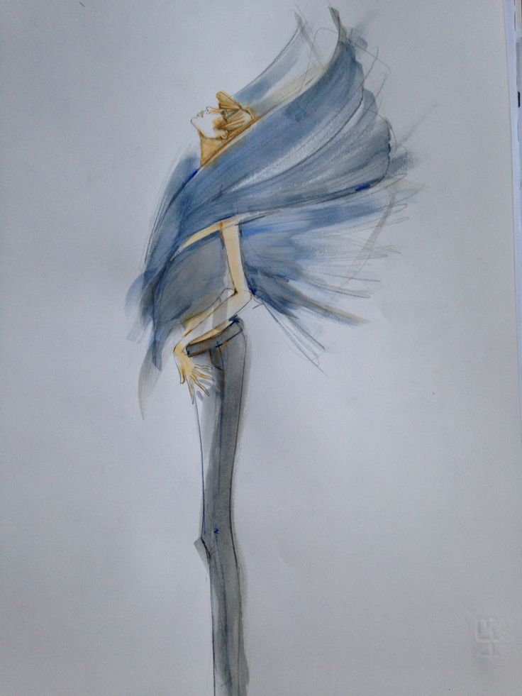 Fashion illustration, watercolors. Alexander McQueen Inspiration