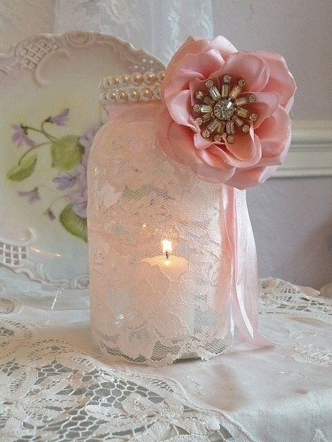 Mason jar and lace, can make cloth flowers with a brooch center or even a sparkly button I can sew in the middle.
