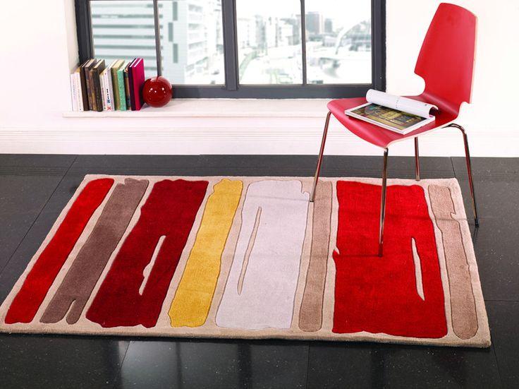 Brand New Infinite Mod Art Paint Strokes Orange Rug In Three Sizes