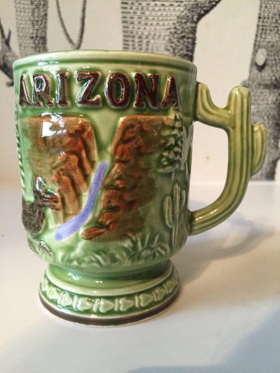 Retro Arizona Cactus Souvenir Mug State Beer by GreatLakesModern