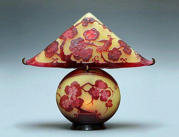 Art nouveau Galle art glass lamp.