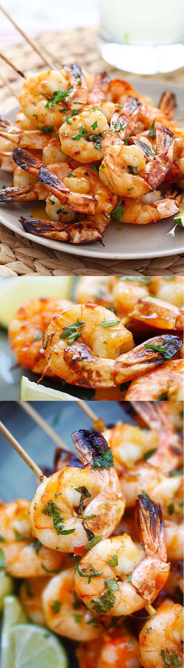 Honey Sriracha Shrimp Kebab - crazy delicious shrimp kebab with honey Sriracha butter. Thread shrimp on skewers and grill, so easy!! | rasamalaysia.com