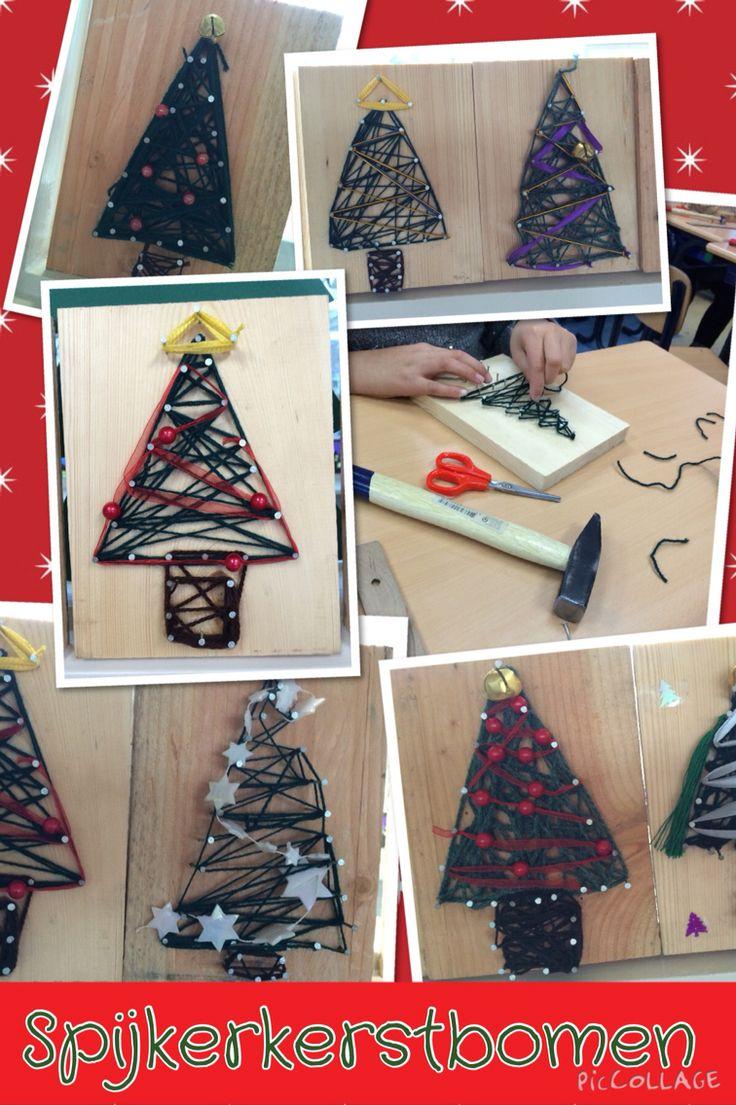 Kerstboom mbv spijkers en draad. Groep 6. Drie punten tekenen, spijkers erin, draad eromheen, langs de draad timmeren. Daarna met draad kerstboom en stam vullen. Versiersels in boom mbv kralen of mooie draad.