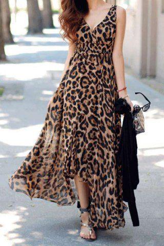Sexy Plunging Neck Sleeveless Leopard Print Asymmetrical Women's DressPrint Dresses | RoseGal.com