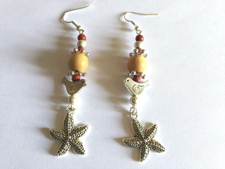 Boucles d'oreille nature avec oiseaux et étoile de mer : Boucles d'oreille par titi-lukoom