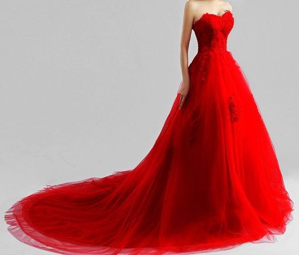 Robe de mariée rouge longue traîne