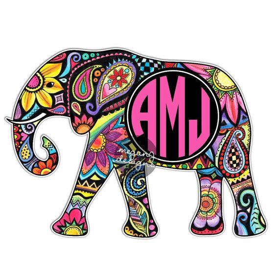 Custom Monogram Elephant Sticker - Colorful Design Cute Car Decal Personalized Initial Laptop Bumper Sticker Animal Elephant Wall Decal