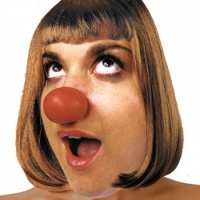 Naso Squeeze Clown Noses from Clownantics.com. Medium-sized, soft molded red vinyl clown nose that needs no strings or glue! Just squeeze it open and it gently grips your nose. Great for giveaways or quick changes!
