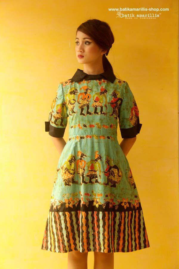 Batik Amarillis's Wednesday dress ... Chic dress accented with a crisp contrast collar and matching cuffs. material : hand drawn batik wonogiri wayang series available at Batik Amarillis webstore/website on http://batikamarillis-shop.com/
