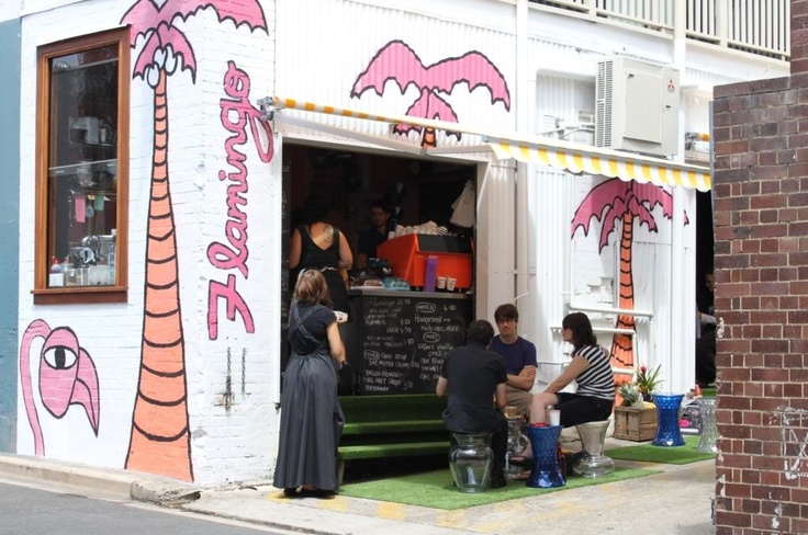 Flamingo Cafe, Fortitude Valley. Another smart reuse of a disused building for a 'hole in the wall' cafe solution.