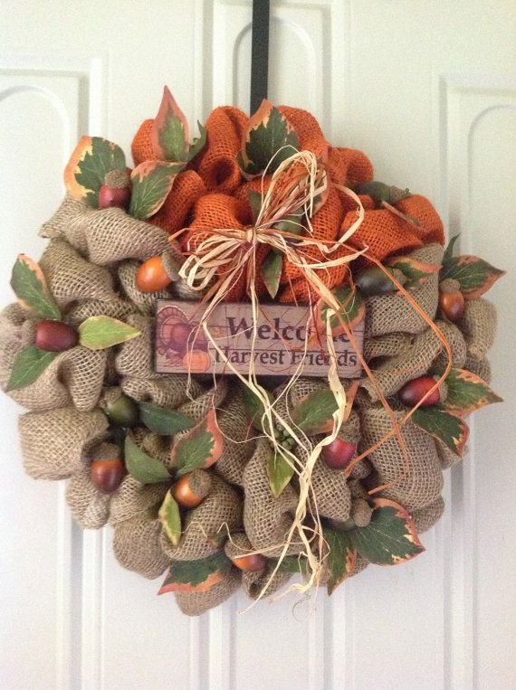 Fall burlap wreath fall decorations pinterest fall for Burlap wreath with lights