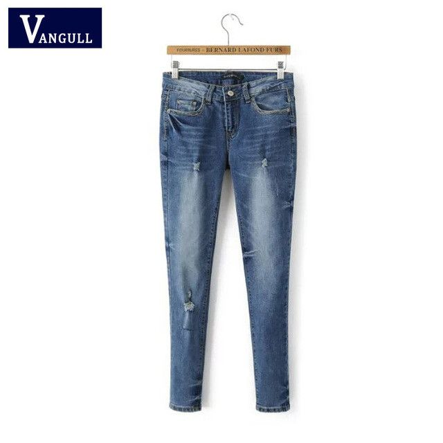 VANGULL Vangull Ripped Jeans For Women Rolling Up Woman Skinny Pants Slim Trousers For Women High Waist Women's Hole Jeans