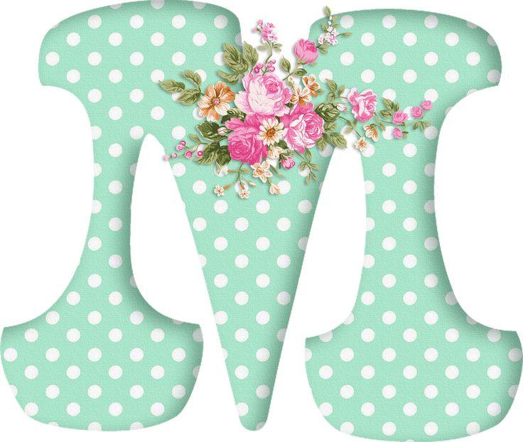 PAPIROLAS COLORIDAS: Abecedario con flores. Letras mayúsculas verdes, puntos blancos. Letra M.