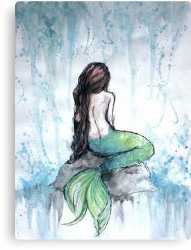Mermaid Watercolor Painting Canvas Print Watercolorarts Watercolorpainting Watercolor In 2020 Watercolor Mermaid Mermaid Painting Watercolor Paintings For Beginners