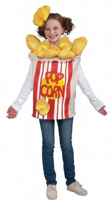 """Funny Popcorn Kernels Costume - This is a fun popcorn costume. This is a great unique choice to dress up in. This is a two-piece costume with a top and headpiece. The top is made of stiff felt with soft plush accents. The felt part of the top is made to look like a popcorn bucket with stripes and the words """"POPCORN"""" printed on the front. #food #kids #popcorn #yyc #calgary #costume"""