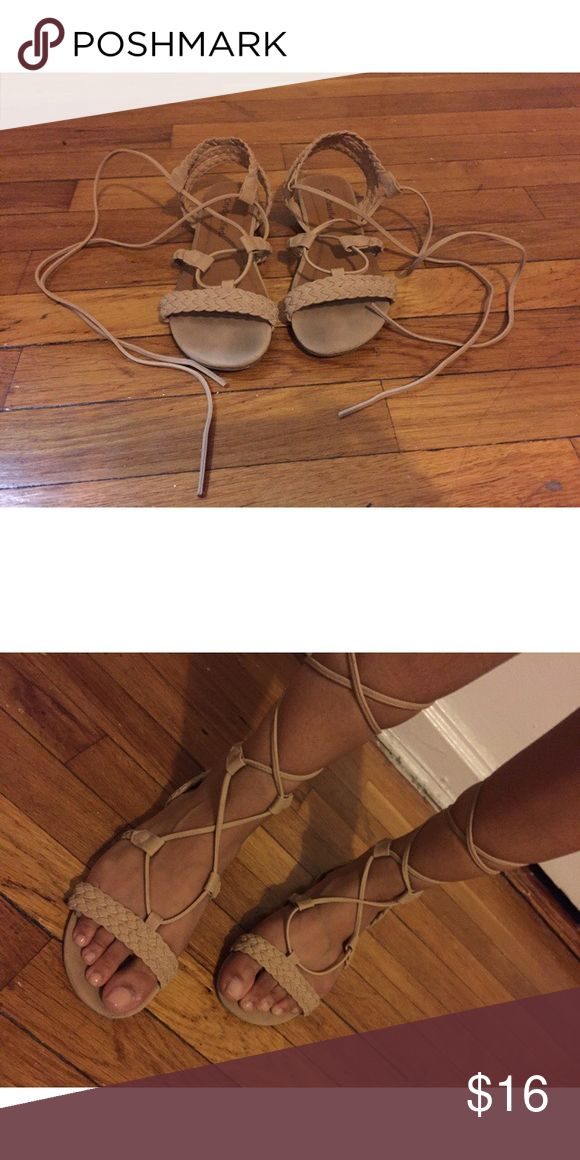 Nude Laced Sandal Exude goddess vibes with these ethereal braided lace-up sandals — perfect footwear to style with flowing maxi dresses and bohemian festival getups! Shoes Sandals