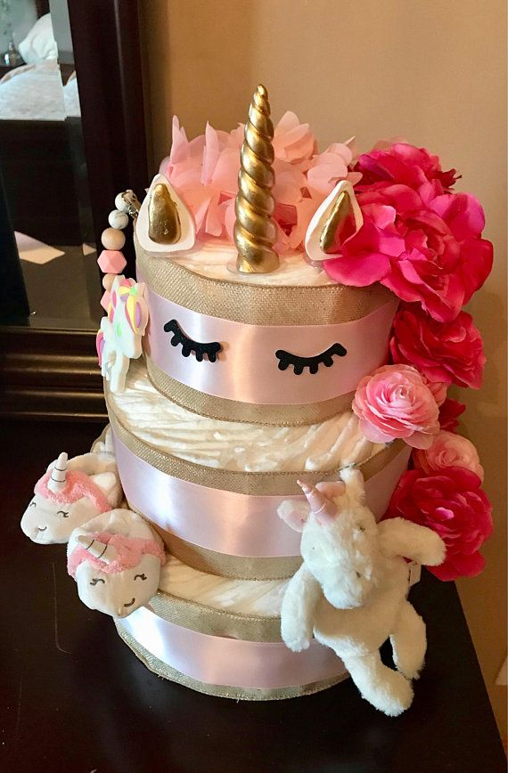 Unicorn Diaper Cake Unicorn Baby Shower Unicorn Baby