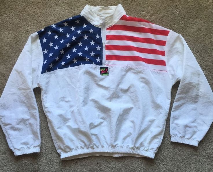 Surf STYLE Men's Vintage USA Flag Poly Nylon Half Zip Jacket ~EUC~ One Size L-2X