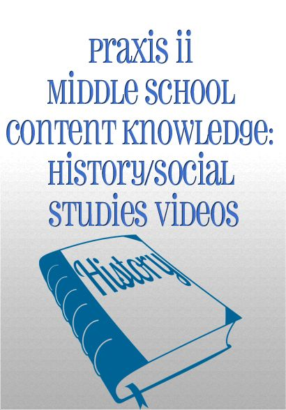 http://www.mometrix.com/academy/praxis-ii-middle-school-content-knowledge-history-social-studies/   Praxis II Middle School Content Knowledge: History/Social Studies Videos