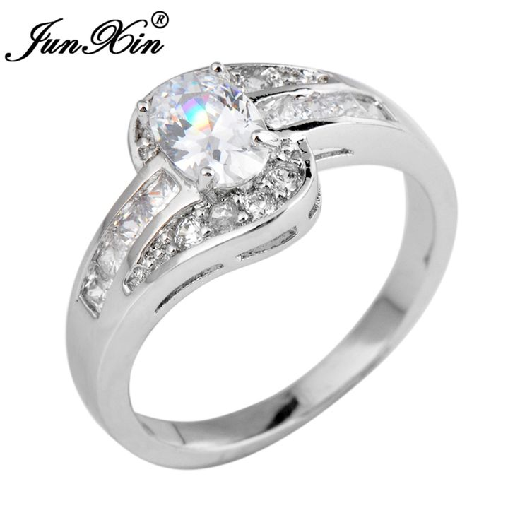 JUNXIN Female Oval Ring White Gold Filled Jewelry Vintage Wedding Rings For Women Birth Stone Girlfriend Gifts