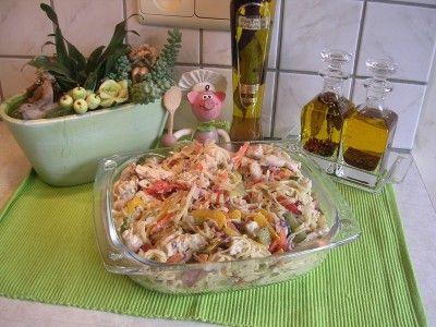Koude wok pasta met kip en groenten is een lekker recept en bevat de volgende ingrediënten: - 500 gr wokpasta beetgaar, - +/- 800gr kippereepjes, - gevogelte kruiden, - 4 perzikken in schijven gesneden, - een stuk komkommer grof gesneden, - 1 ajuin fijn gesneden, - een stuk rode en gele paprika in reepjes gesneden, - 1 wortel in reepjes gesneden, - truffel dressing, - gemalen peper