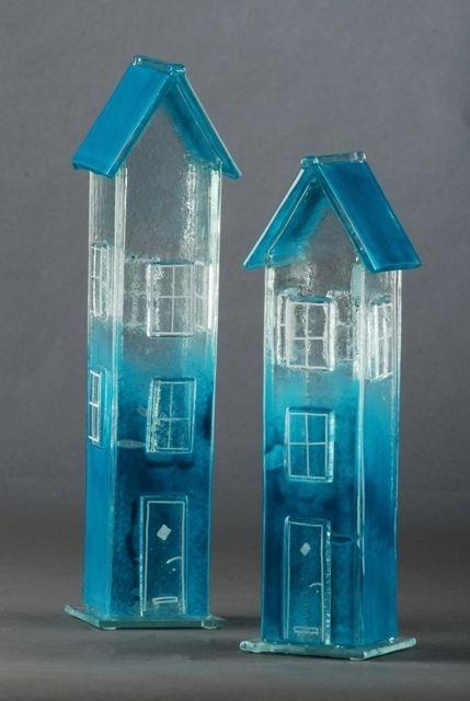 Blå huse » Glaskunst » Kunst » Arwo.dk - kunst på nettet