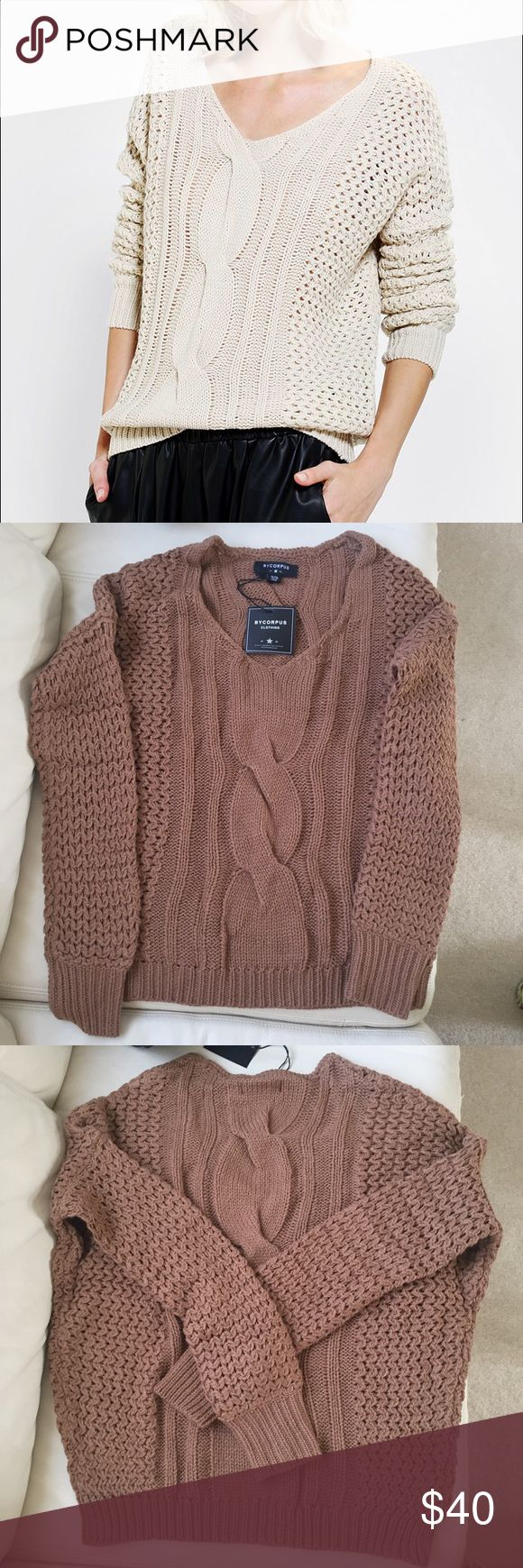 NEW urban outfitters cable knit sweater Brand is by corpus, one of the vintage inspired brand sold at uo. This sweater is SO SOFT!! I'm selling the color honey, which is a rich golden brown that is so neutral and perfect for winter and spring! I'd wear this with light wash skinnies or a vintage pair of boyfriend jeans. Because the stitching is so thick, you can rock this without a bra, like the model! Fits true to size. Can also fit a Small. Tags: nastygal asos topshop Abercrombie Zara…