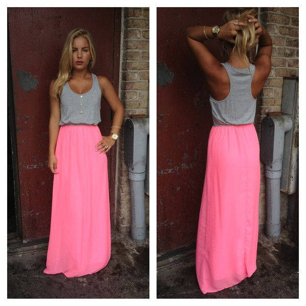 grey button up tank and neon maxi skirt? yes!