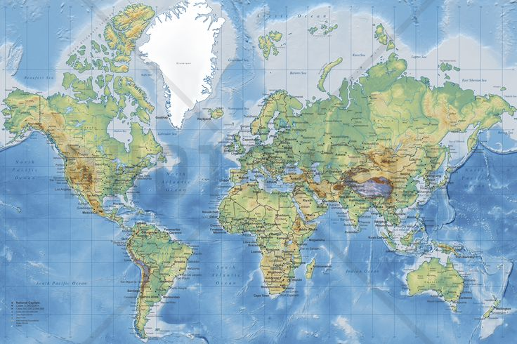 World Map Detailed - Without Roads - Wall Mural & Photo Wallpaper - Photowall