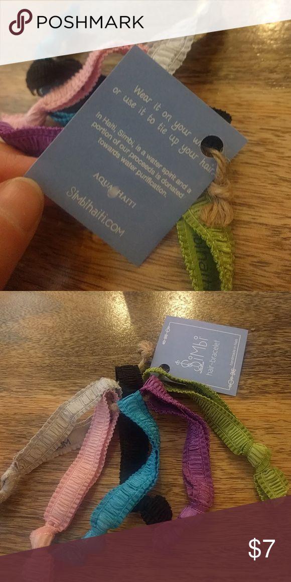 Hair-Bracelet handmade in Haiti. By Simbi a company that brings clean water and sustainable jobs to Haiti through Aqua Haiti. If interested more, please visit their site Simbihaiti.com (in Haiti, Simbi is the water spirit) Accessories