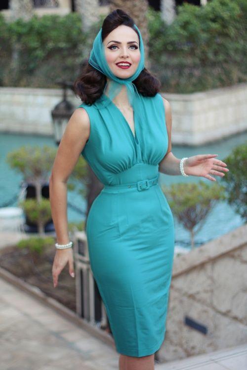 Daisy Dapper ~ 50s Loretta Pencil Dress in Aqua #iddavonmunster