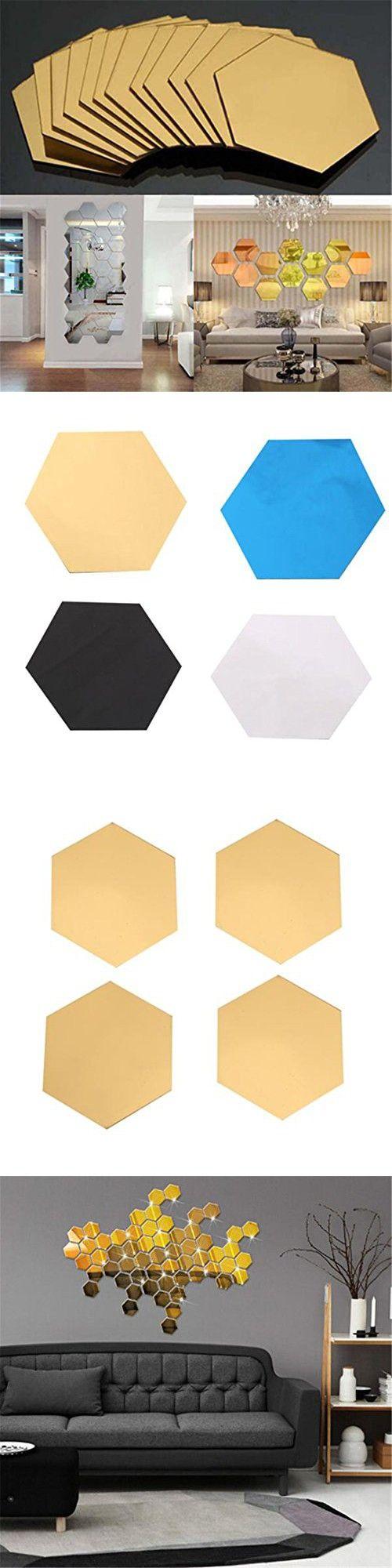 GUAngqi 12Pcs Luxury Wall Sticker DIY 3D Mirror Hexagon Vinyl Removable Home Decor