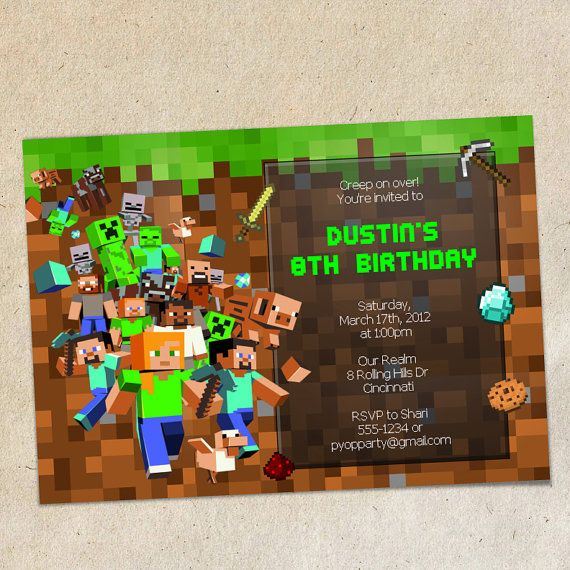 Best MinecraftInvitation Images On   Birthday Party