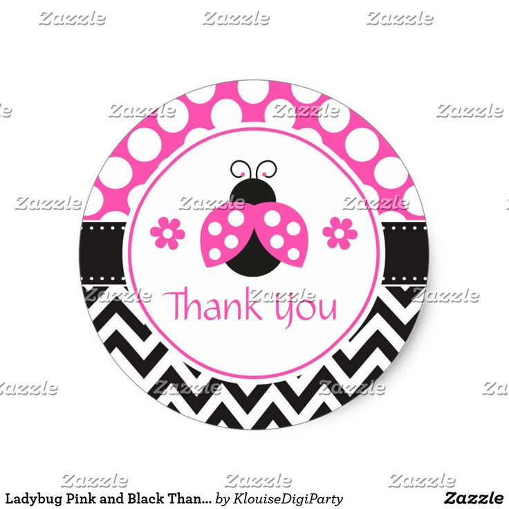 Ladybug Pink and Black Thank You Baby Shower Classic Round Sticker