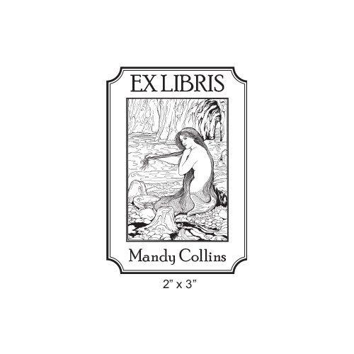 The Mermaid by Waterhouse Custom Bookplate Rubber Stamp  I17
