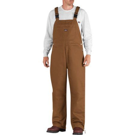 Genuine Dickies Men's Insulated Bib Overalls, Size: Large, Brown