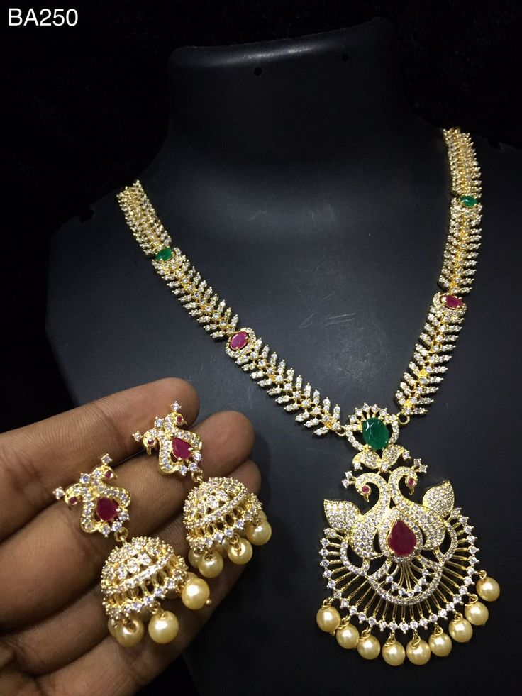 South Indian jewellery : CZ Necklace With Earrings   CZ jewellery   Latest ...