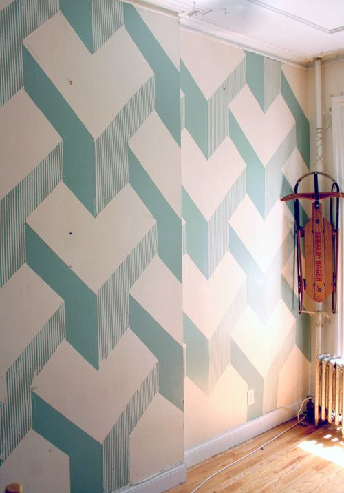 Fab Alternative To Wallpaper. Paint Effects With Masking Tape