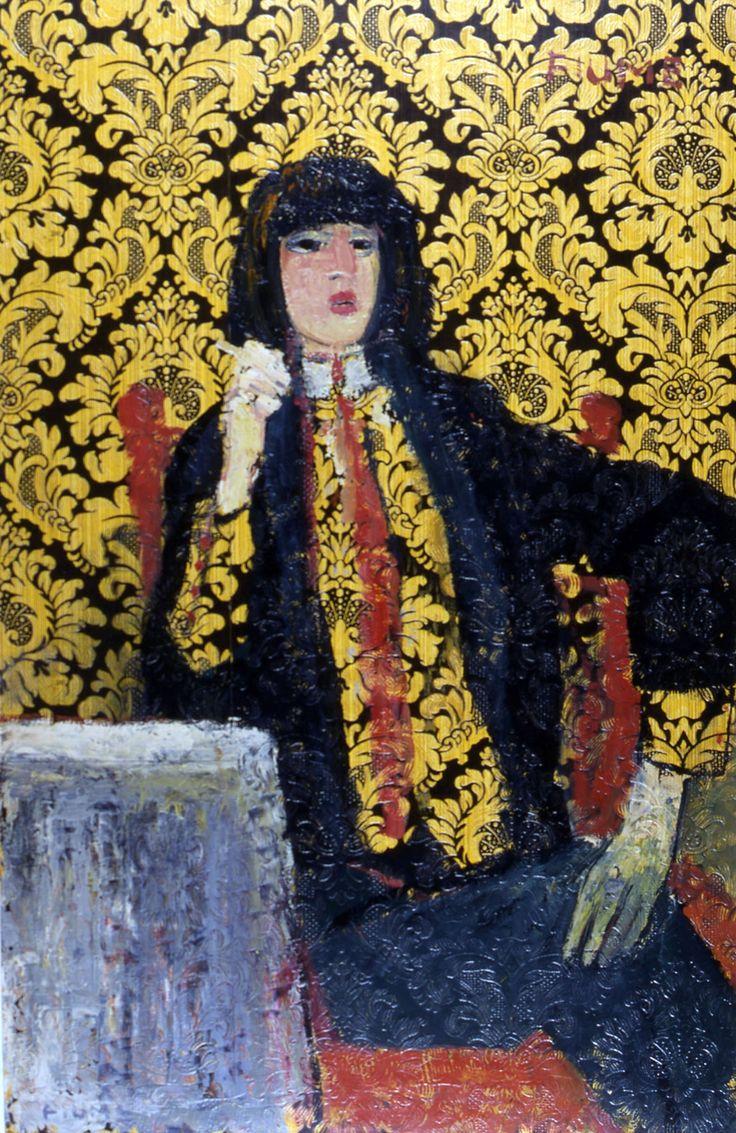 Salvatore Fiume, Elegant beat, 1968 oil on wallpaper, 120x77 cm