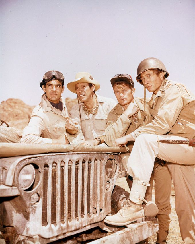 Lawrence P. Casey, Christopher George, Gary Raymond, and Justin Tarr in The Rat Patrol (1966)